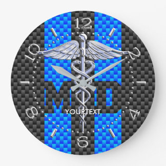 Doctor MD Caduceus Personalized Style Blue Carbon Wall Clocks