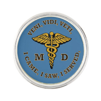 Doctor MD Caduceus VVV Shield Lapel Pin