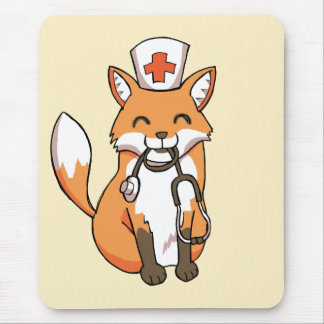 Doctor or Nurse Fox Drawing Cute Mouse Pad