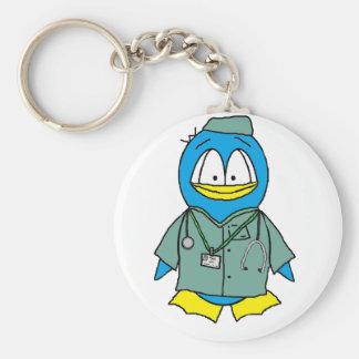 Doctor Penguin Basic Round Button Keychain