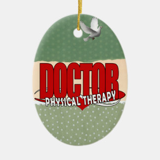 DOCTOR PHYSICAL THERAPY BIG RED CERAMIC OVAL ORNAMENT