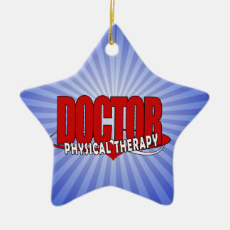 DOCTOR PHYSICAL THERAPY BIG RED CERAMIC STAR ORNAMENT