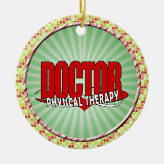 DOCTOR PHYSICAL THERAPY BIG RED ROUND CERAMIC ORNAMENT