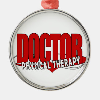 DOCTOR PHYSICAL THERAPY BIG RED Silver-Colored ROUND ORNAMENT