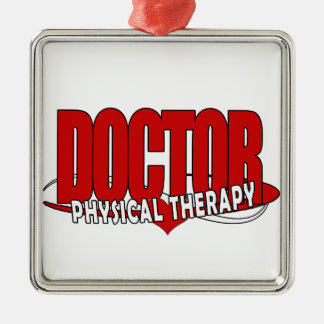 DOCTOR PHYSICAL THERAPY BIG RED Silver-Colored SQUARE ORNAMENT