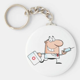 Doctor Running With A Syringe And Bag Basic Round Button Keychain