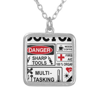 doctor silver plated necklace