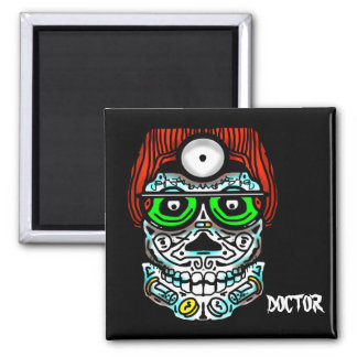 DOCTOR SKULL MALE by Slipperywindow Square Magnet
