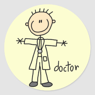 Doctor Stick Figure Classic Round Sticker