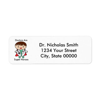 Doctor Super Hero Personalize Return Address Label