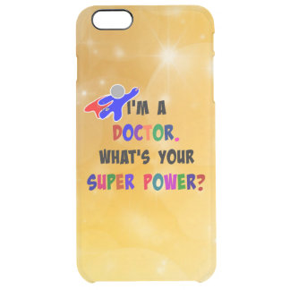 Doctor Superhero, colorful gold sparkle design Clear iPhone 6 Plus Case