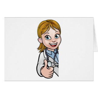Doctor Thumbs Up Cartoon Character Sign Card
