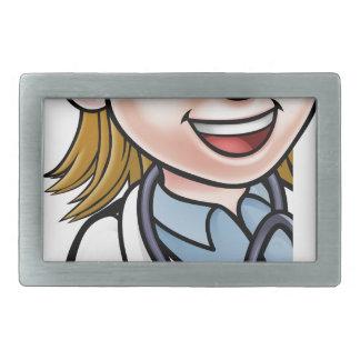 Doctor Thumbs Up Cartoon Character Sign Rectangular Belt Buckles