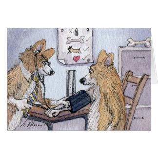 Doctor Welsh Corgi dog checking blood pressure Card