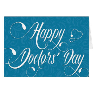 Doctors' Day Card - Swirly Text - Blue