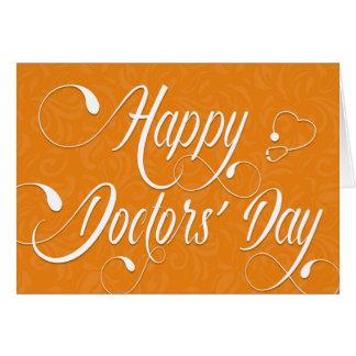 Doctors' Day Card - Swirly Text - Orange