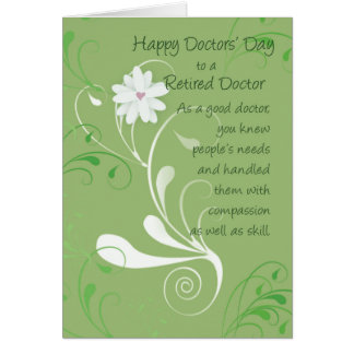 Doctors' Day to Retired Doctor,  Green Swirls Card