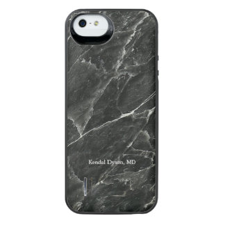 Doctor's Personalized Black Marble iPhone SE/5/5s Battery Case