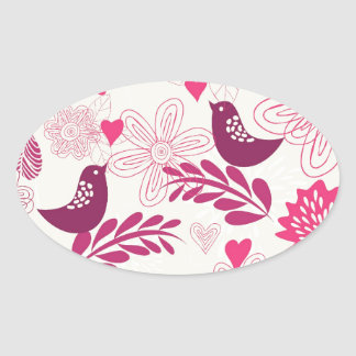 Doddle birds in love oval sticker