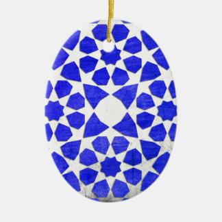 Dodecagon & Octagon Geometric Turkish Tile Pattern Ceramic Oval Ornament