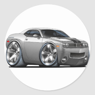 Dodge Challenger Silver/Grey Car Classic Round Sticker