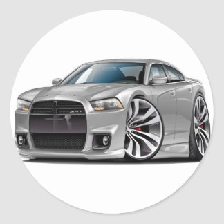 Dodge Charger SRT8 Silver Car Classic Round Sticker