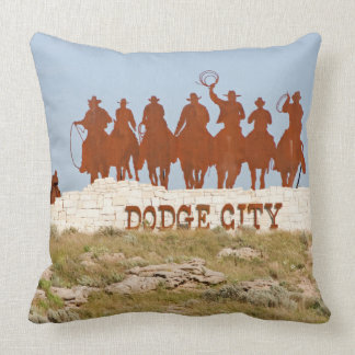 Dodge City Sign - Cowboys - Horses Throw Pillow