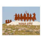 Dodge City Sign - Cowboys - Horses - Welcome Postcard