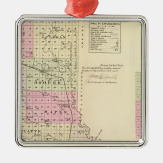Dodge County, Nebraska Silver-Colored Square Ornament