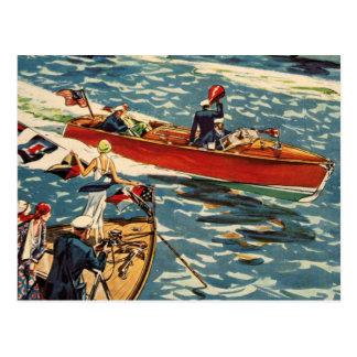 Dodge Motor Speed Boat Vintage Antique Row Ocean Postcard