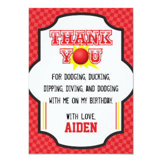 Dodgeball Birthday Thank You Card | Sports