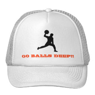 dodgeball GO BALLS DEEP Trucker Hats
