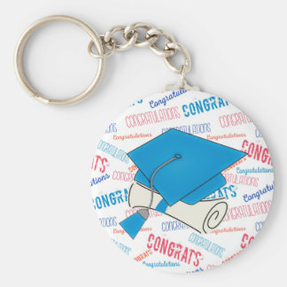 Dodger Blue Graduation Cap and Diploma Basic Round Button Keychain