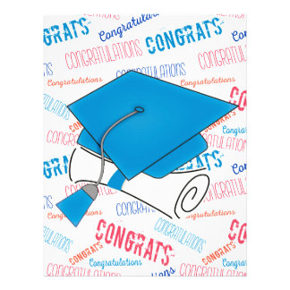 Dodger Blue Graduation Cap and Diploma Letterhead