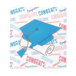 Dodger Blue Graduation Cap and Diploma Notepad