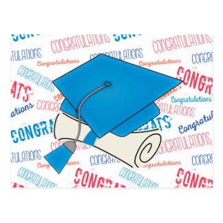 Dodger Blue Graduation Cap and Diploma Postcard