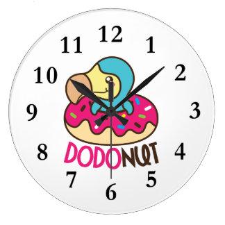 Dodonut Dodo Bird Doughnut Large Clock