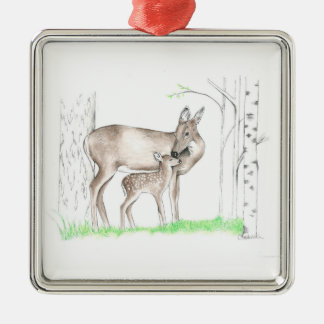 Doe and Fawn Metal Ornament