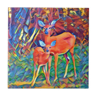 Doe and Fawn Tile