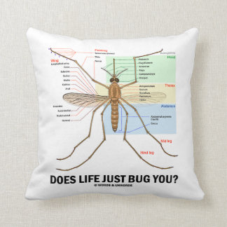 Does Life Just Bug You? (Mosquito Anatomy) Throw Pillow