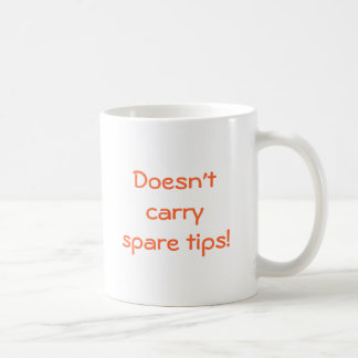 Doesn't carry spare tips! classic white coffee mug