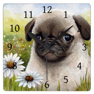 Dog 114 Pug Daisy flower Clocks