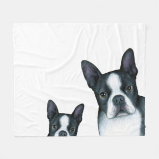 Dog 128 b/w Boston Terrier Fleece Blanket