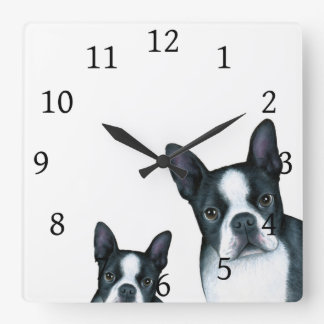 Dog 128 Black White Boston Terrier Square Wall Clock