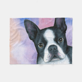 Dog 128 Boston Terrier Fleece Blanket