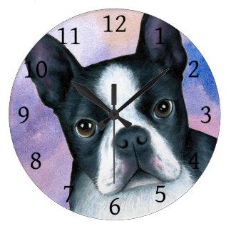 Dog 128 Boston Terrier Pink Blue background Large Clock