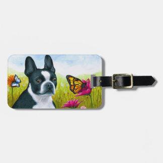 Dog 134 Boston Terrier Butterfly Flower Bag Tag