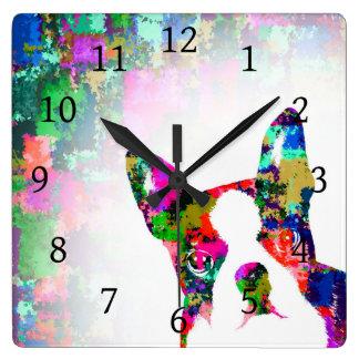 Dog 135 Boston Terrier Square Wall Clock