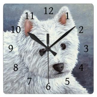 Dog 137 White Westie Square Wall Clock
