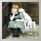 Dog Adoring Girl Victorian Painting Poster